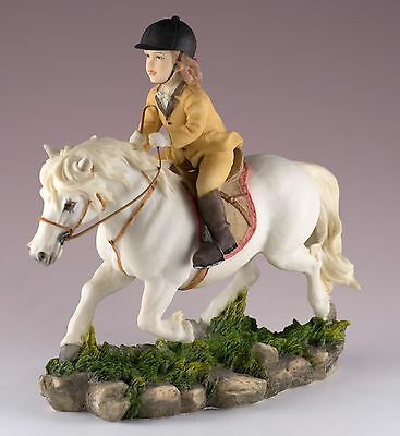 """Little Girl Riding White Pony Equestrian Horse Figurine 6""""H Polystone New In Box"""