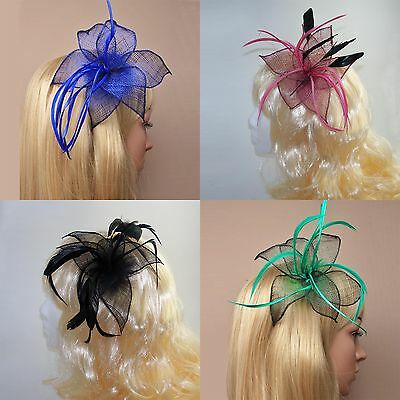 Wedding Day Mesh Flower Fascinator on Clip & Pin with Feather detail