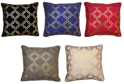 43x43cm Metallic Gold Foil Moroccan Quatrefoil Tiles Vintage Look Cushion Cover