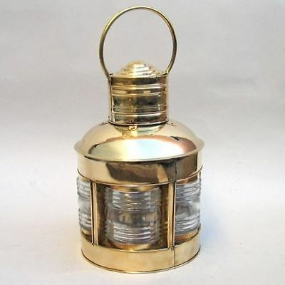 Brass Lighthouse Lantern ~ 5 Sided w/ Clear Fresnel Lenses ~ Nautical Maritime