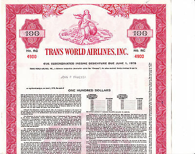 Trans World Airlines Inc. $ 100,00 6 1/2% Subord.Inc.Deb. von 1961