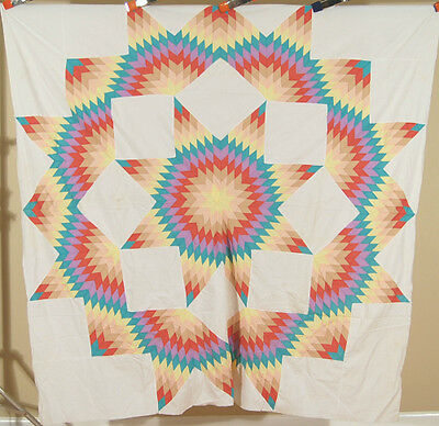 GORGEOUS Vintage 30's Broken Star Antique Quilt Top ~NICE RAINBOW COLORS!