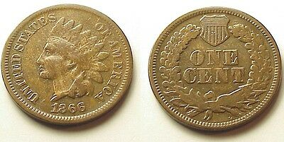 """Fine/vf 1866 Indian Head Penny-Key Date- """"liberty!""""  Free Shipping!"""