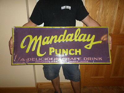 rare mandalay punch sign 1920s-30s soda sign
