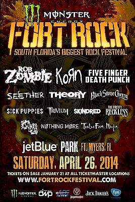 FORT ROCK FESTIVAL 2014 FORT MYERS CONCERT TOUR POSTER- Rob Zombie, Korn,Seether
