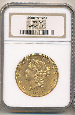 1900-S NGC MS62 $20 Liberty Double Eagle Gold Coin