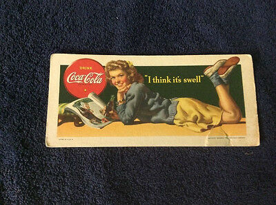 Rare Vintage 1942 Coaster Mat , Coca Cola Advertisement,