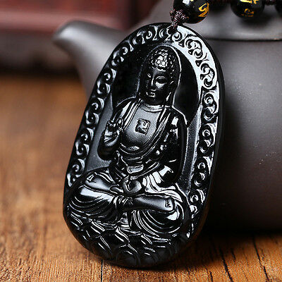 Natural A Black Obsidian Carved Buddha Pendant Chain Necklace Rope Gift For Men