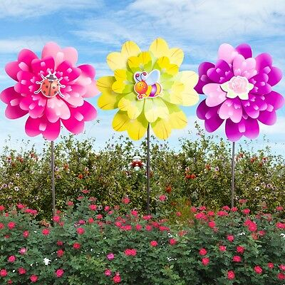 LARGE Double Flower Wind Spinner Bright Colours Garden Windmill Stake 1/2/3 Pack