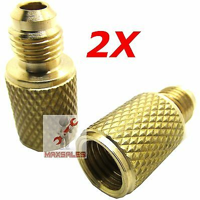 """2xR134a Brass Adapter 1/4"""" Male to 1/2""""ACME Female Charging Hose to Vacuum Pump"""