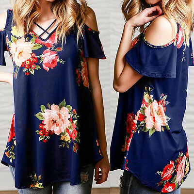Fashion Womens Summer Short Sleeve Shirt Casual Blouse Loose Tops Off-Shoulder