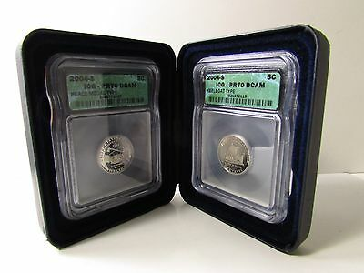 2, 2004-S Proof Jefferson Nickel Coin Lot Icg Pr70 Dcam - Peace Medal & Keelboat