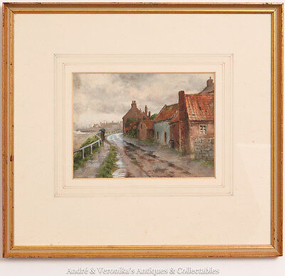 English School, Coast Road Watercolour Captivating Painting Coastal Side Street