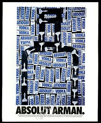 1990 Absolut Arman Armand Arman vodka bottle art vintage print ad