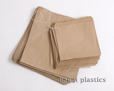 Paper Bags Strung Brown & White Kraft Food Sandwich Takeaway Grocery Bag