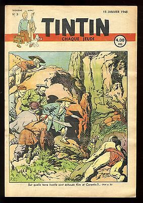 Journal de TINTIN belge  1948   n°3  Couverture de Paul CUVELIER