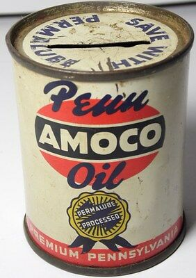 VINTAGE 1950 PENN AMOCO OIL Pennsylvania Advertising Oil Can Bank Gas Petroliana
