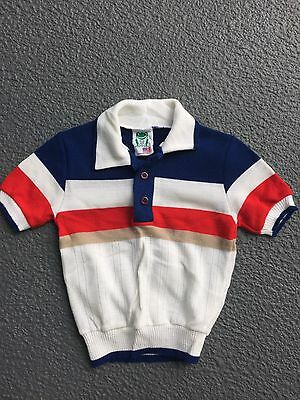 Vintage Boy's BULL FROG KNITS Red White Blue Sweater Shirt SS Size 4T