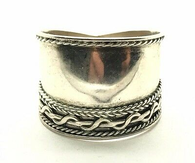 Vintage Oxidized Sterling Silver 925 Wide Twist Border Textured Ring Sz 5.5