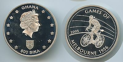 GS648 - Ghana 500 Sika 2005 KM#2005 Games of Melbourne 1956 Silber PROOF