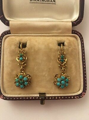 Victorian Antique Yellow Gold Ornate Turquoise Cluster Drop Earrings Pretty