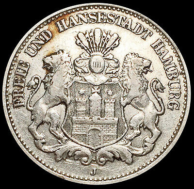 1904 J Silver Hamburg German States 2 Mark Coin Condition Extremely Fine