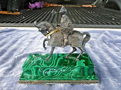 Antique Continental 800 Silver Knight On Horseback With Malachite Base