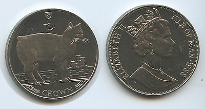 GS675 - Isle of Man One Crown 1988 KM#245 Katze Manx Cat Elizabeth II.