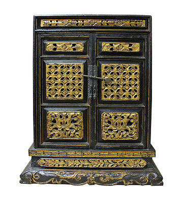 Vintage Chinese Golden Carving Small Wood Buddha House Box cs2565
