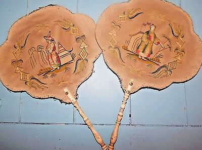 2 ANTIQUE Chinese HAND EMBROIDERED SILK FAN Bovine Handle QING pien mien LOT old