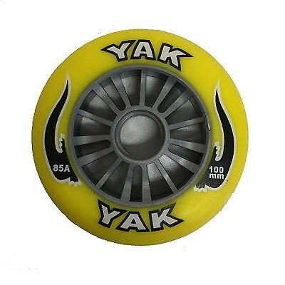 YAK Scooter Wheel Silver Plastic Core 100mm With Yellow PU Wheel Razor Style Whe