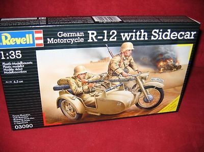 Revell® 03090 1:35 German Motorcycle R-12 With Sidecar Neu Ovp
