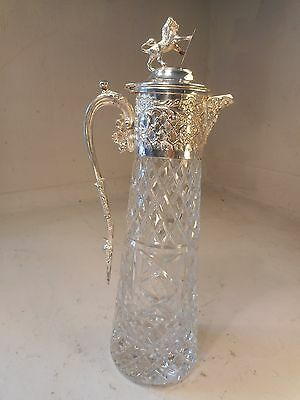 Quality Silver Plate Cut Glass Claret Jug , Decanter  Pitcher , Lion   ref 2010