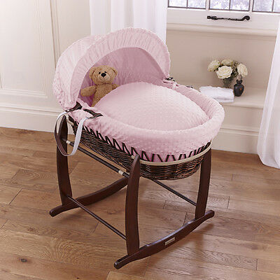 New Clair De Lune Pink Dimple Padded Dark Wicker Baby Moses Basket & Stand
