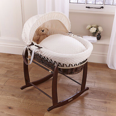 New Clair De Lune Cream Dimple Padded Dark Wicker Baby Moses Basket & Stand