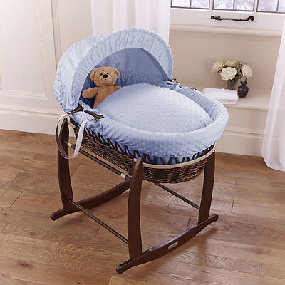 New Clair De Lune Blue Dimple Padded Dark Wicker Baby Moses Basket & Stand