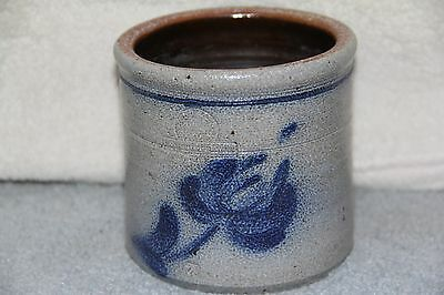 "4"" Tall - Rowe Pottery Works Blue Flower Salt Glazed Crock"