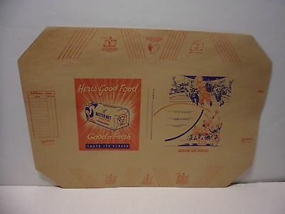 """BUTTER NUT BREAD PAPER BOOK COVER-1940 - 12"""" x 17"""" OLD GRAPHICS  BABY ON WRAPPER"""