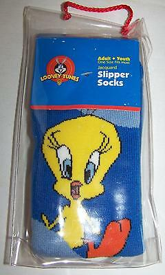 Vintage Looney Tunes Slipper Socks Tweety Bird Adult Youth One Size New 1999