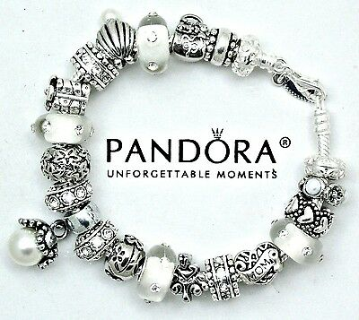 Authentic Pandora Sterling Silver Bracelet with Mom Mother Heart European Charms