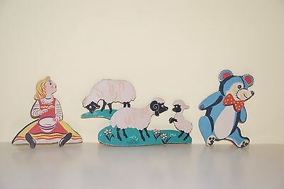Vintage 1950s Dolly Toy Co. MOTHER GOOSE PIN-UPS Nursery Wall Plaques
