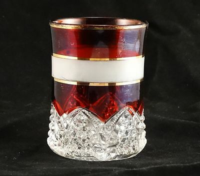 Duncan Button Arches Ruby Stained Tumbler Frosted Band