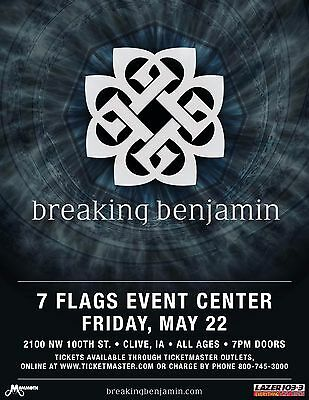 BREAKING BENJAMIN 2015 DES MOINES CONCERT TOUR POSTER- Hard Rock,Alt Metal Music