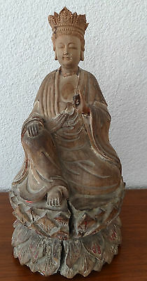 Guanyin Carved Wooden Statue, 19Th Century