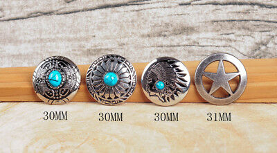 4 Styles Silver Turquoise Rhinestone Screw Back Conchos For Leathercraft Belt