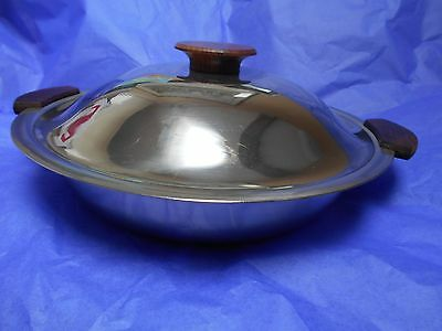 Danish RETRO 1970s lidded stainless steel and teak covered round serving dish