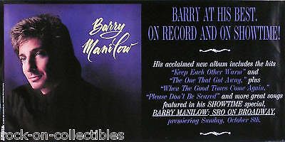 Barry Manilow 1989 Self-Titled Album Promo Poster