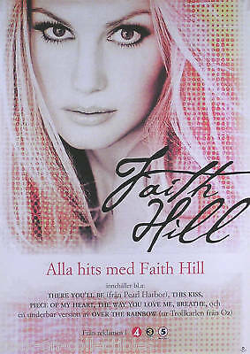 Faith Hill 2001 There You'll Be Swedish Promo Poster Original