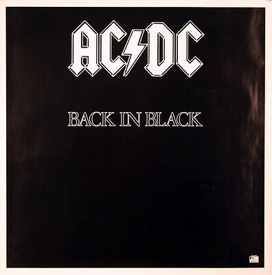 Ac/dc 1980 Back In Black Vintage Promotional Poster Original