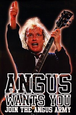 AC/DC 1990s ANGUS WANTS YOU ANGUS ARMY RARE POSTER ORIGINAL